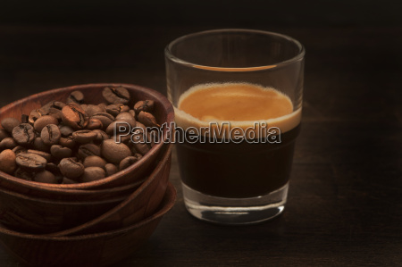 bowl of coffee beans and espresso
