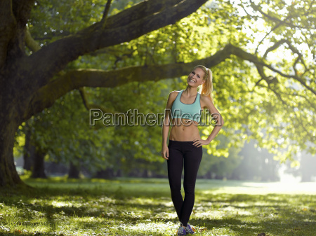germany young athletic woman standing under