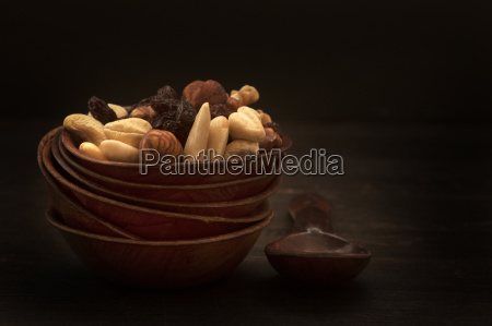 bowl of nuts and raisins on