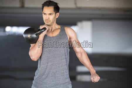 portrait of a man training with