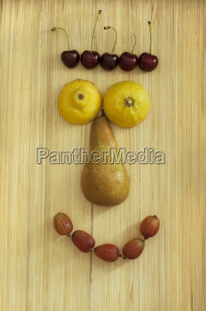 funny fruit face close up