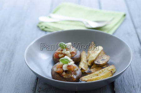 bowl of mushrooms with roasted potatoes