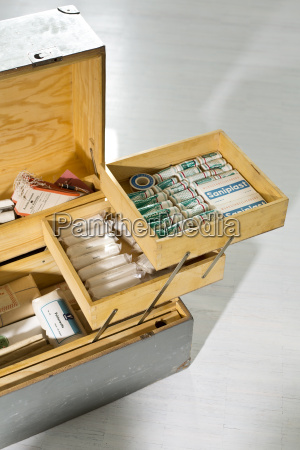 old wooden first aid box