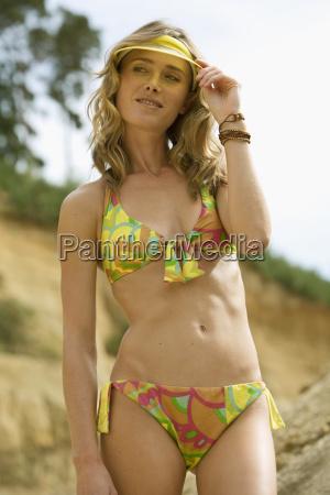 woman at the beach bikini and