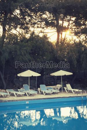 greece crete swimming pool and sun