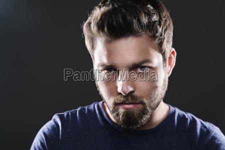 portrait of sad man with beard