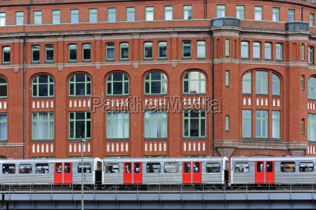 germany hamburg subway train at slomanhaus