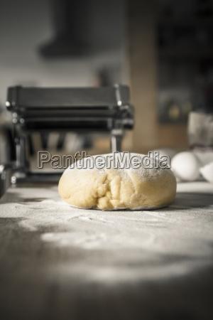 pasta dough with flour pasta machine