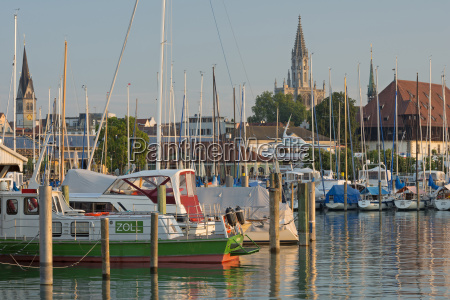 germany, , constance, , view, of, marina, with - 21111597