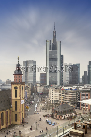 germany hesse frankfurt skyline at night