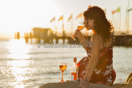 germany bavaria nonnenhorn woman with wine