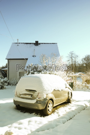 germany bergisches land snow on car