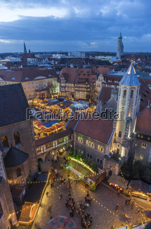 germany braunschweig view to lighted christmas