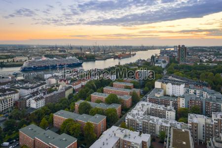 germany hamburg harbor elbe river cityscape