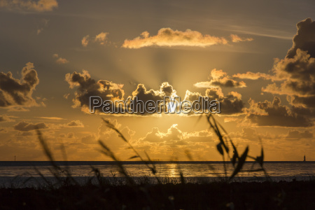 germany lower saxony wremen sunset at