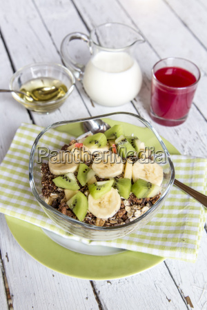 healthy breakfast with muesli fruit milk