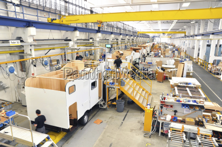 assembly line production of motorhomes in