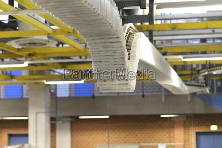 conveyor belt with printed newspapers in