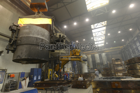container with hot steel in a