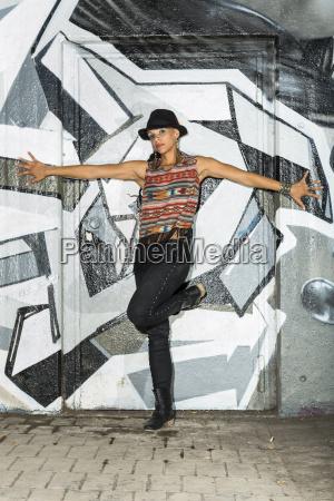 female hip hop dancer dancing in