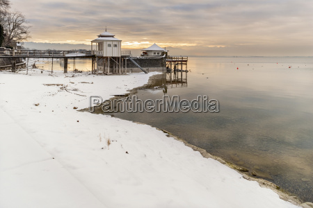 germany wasserburg lakeshore with bath house
