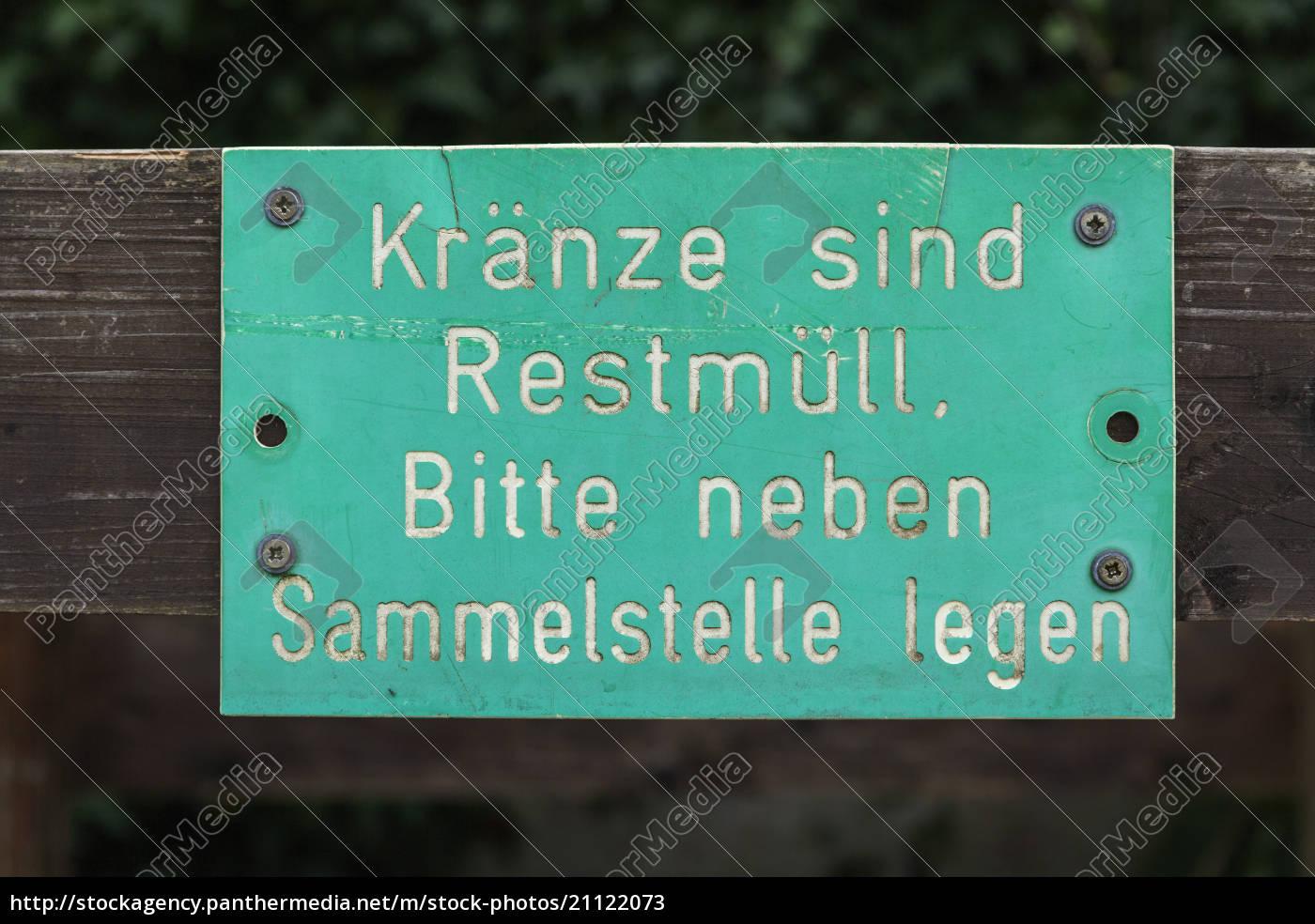 germany, , sign, concering, trash, at, grave - 21122073