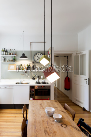 large kitchen of flat in an