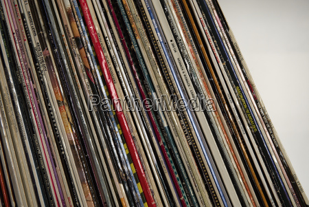 collection of records close up