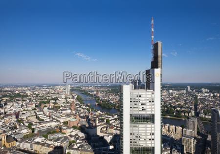 germany frankfurt skyline with commerzbank tower