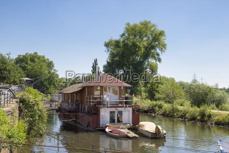 germany hesse frankfurt hoechst house boat