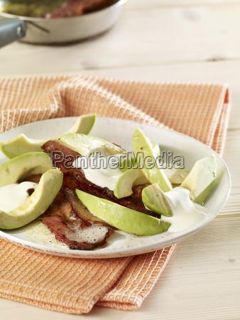 fried bacon with avocado