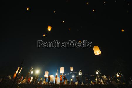 thailand khao lak sky lanterns raising