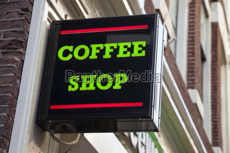 netherlands amsterdam sign coffee shop