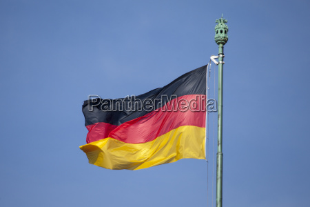 german flag and blue sky