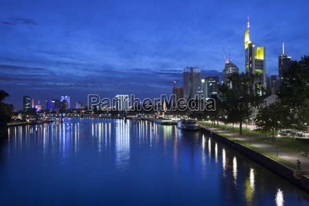 germany hesse frankfurt skyline with river