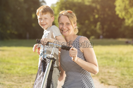 portrait of mother and son with