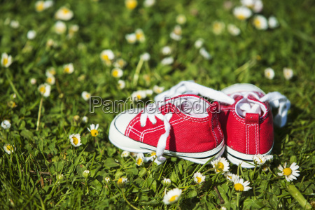 pair of red sneakers of a