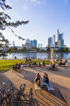 germany hesse frankfurt skyline of financial
