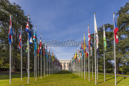 switzerland geneva flags at palace of