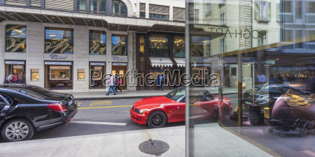 switzerland geneva luxury shops at rue