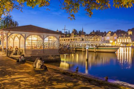 switzerland luzern lighted shipping pier and
