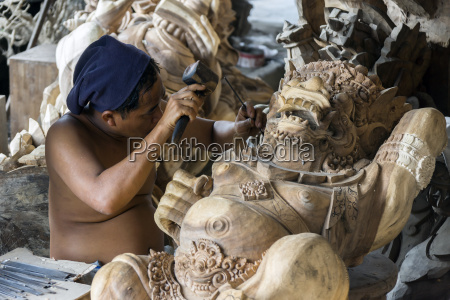 indonesia bali ubud traditional wood carvers