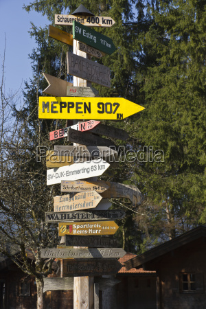 germany bavaria inzell sign post forest