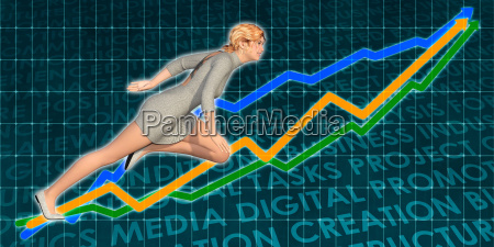 businesswoman charging ahead on blue background