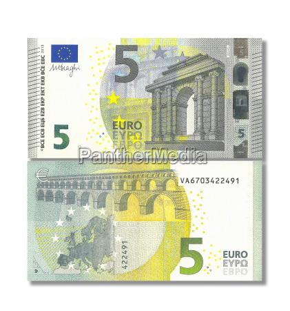 new 5 euro banknote against white