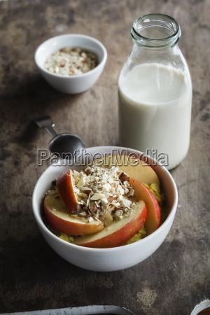 bowl of porridge with apples