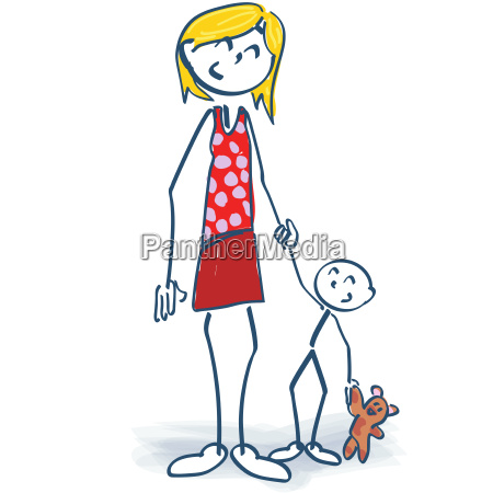 stick figure as a mother with