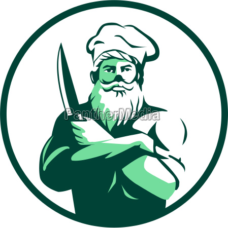 bearded chef arms crossed knife circle