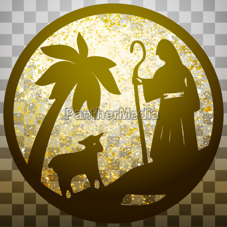 shepherd and sheep silhouette icon vector