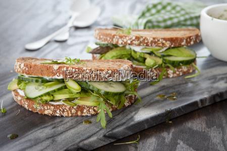full grain bread with avocado